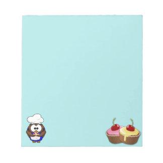 cupcake chef owl memo note pad