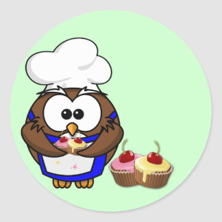 cupcake chef owl round sticker