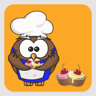 cupcake chef owl square sticker