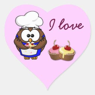 cupcake chef owl heart sticker