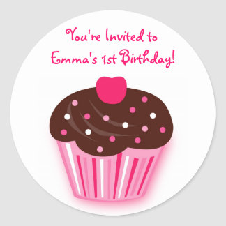 Cupcake Cherry Birthday Envelope Seals Stickers