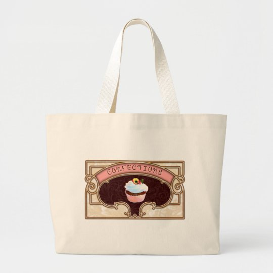 Cupcake Confections Vintage Style Large Tote Bag