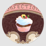 Cupcake Confections Vintage Style Round Stickers