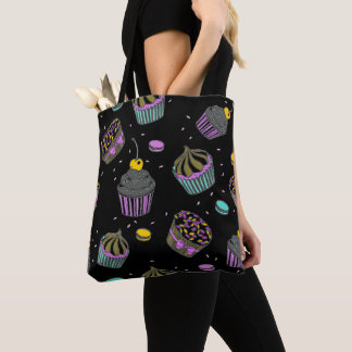 Cupcake Confetti Black Pink Blue Yellow Tote Bag