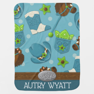 Cupcake Cowboy Personalized Baby Blanket