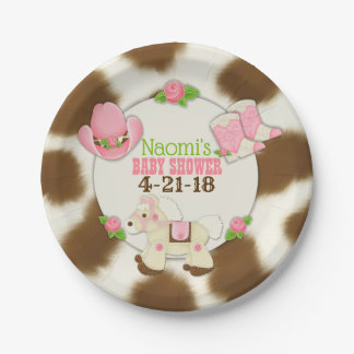 """Cupcake Cowgirl Baby Girl Shower 7"""" Paper Plate"""