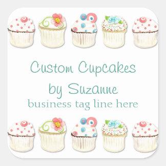 Cupcake Dessert Baking Bakery Business Identity Square Sticker