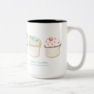 Cupcake Dessert Baking Bakery Business Identity Two-Tone Mug
