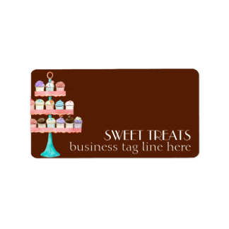 Cupcake Dessert Baking Bakery Business Package Address Label