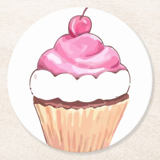CUPCAKE DREAM PARTY FAVORS ROUND PAPER COASTER