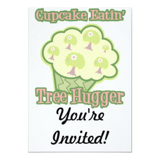 Cupcake Eating Tree Hugger 13 Cm X 18 Cm Invitation Card