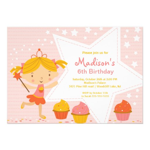 Cupcake Fairy  Birthday Party Invitation