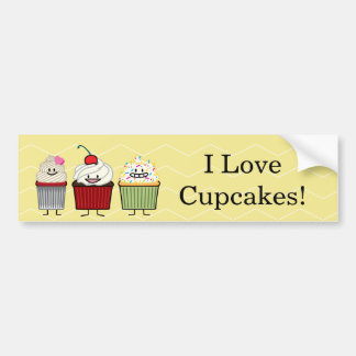 Cupcake family frosting sprinkles cherry cakes hea bumper sticker