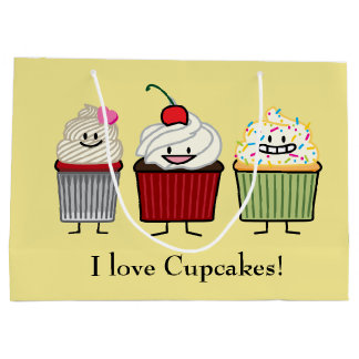 Cupcake family frosting sprinkles cherry cakes large gift bag