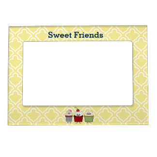 Cupcake family frosting sprinkles cherry cakes magnetic picture frame