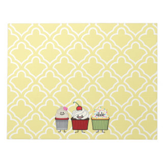 Cupcake family frosting sprinkles cherry cakes notepad