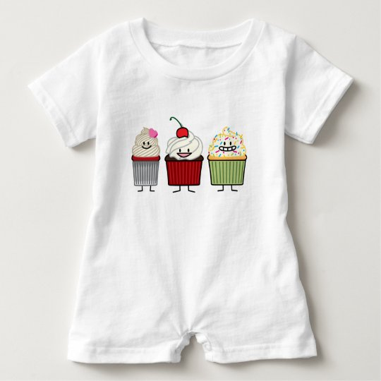 Cupcake family icing sprinkles cherry cakes heart baby bodysuit