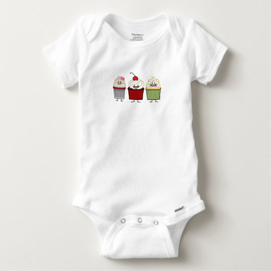 Cupcake family icing sprinkles cherry cakes heart baby onesie