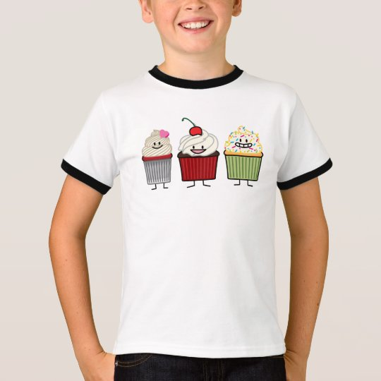 Cupcake family icing sprinkles cherry cakes heart T-Shirt