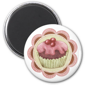 Cupcake Fridge Manget - Juicy Cherry Cupcake 6 Cm Round Magnet