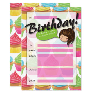 Cupcake Girl Birthday Invitation - Brown Hair