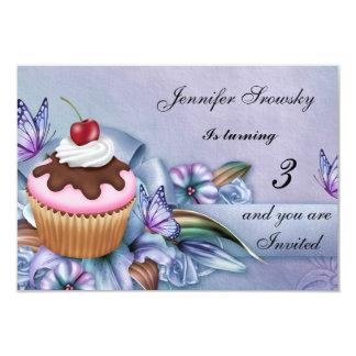 Cupcake Girls Birthday Party 3.5x5 Paper Invitation Card