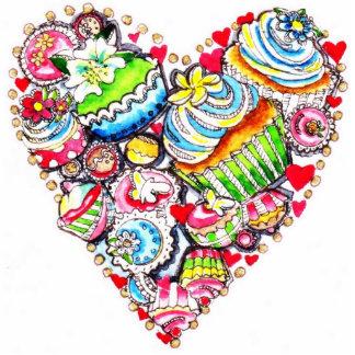 Cupcake heart key chain photo sculpture key ring