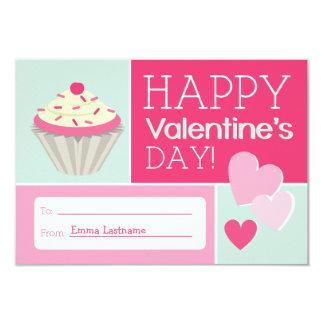 Cupcake & Hearts Kids School / Classroom Valentine 9 Cm X 13 Cm Invitation Card