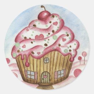 Cupcake House Round Sticker