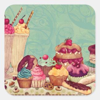 Cupcake & Ice Cream Patisserie Gift Tags Square Sticker