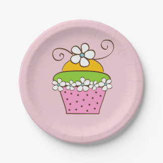 Cupcake Illustration Paper Plate