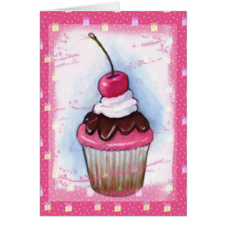 Cupcake in Pastel on Pink Background Greeting Card