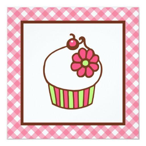 """Cupcake Invitations 5.25"""" Square Invitation Card"""