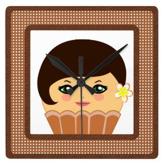 Cupcake Kawaii Custom Cute Brown Couture Clock Clocks
