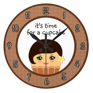 Cupcake Kawaii Custom Cute Chocolate Couture Clock Wallclocks