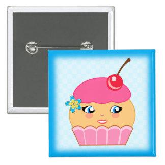 Cupcake Kawaii Pink Couture Character Square Badge