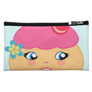 Cupcake Kawaii Pink Couture Suede Cosmetic Bags