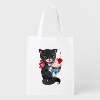 Cupcake Kitten - Cute cat art Reusable Grocery Bag