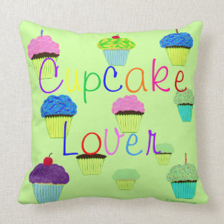 Cupcake Lover Green Purple PERSONALIZE Name Cushion
