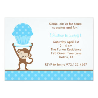Cupcake Monkey Birthday Invitations