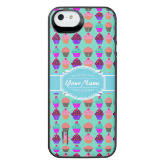 Cupcake N1 Pattern Aqua Personalized Name iPhone SE/5/5s Battery Case