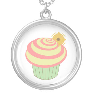 Cupcake Necklace - Pink And Green With Flower