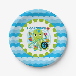 Cupcake Octopus 6th Birthday Paper Plates 7 Inch Paper Plate