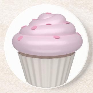 Cupcake of strawberry drink coaster