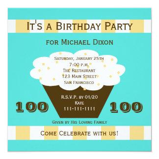 """Cupcake on Aqua 100th Birthday Party Invitation 5.25"""" Square Invitation Card"""