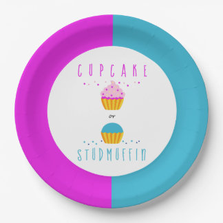 Cupcake or Studmuffin Gender Reveal Baby Shower Paper Plate