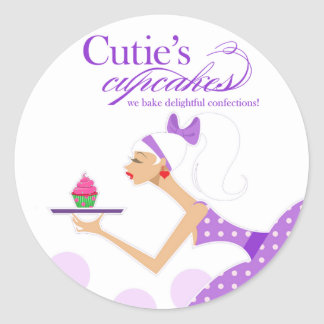 "Cupcake Packaging Sticker ""Cutie's Cupcakes"""