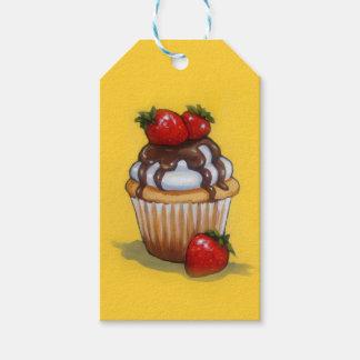 Cupcake Painting, Chocolate, Strawberries, Art Gift Tags