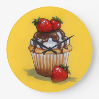 Cupcake Painting, Chocolate, Strawberries, Art Large Clock