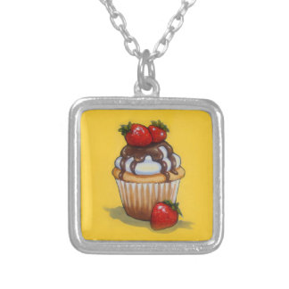 Cupcake Painting, Chocolate, Strawberries, Art Silver Plated Necklace